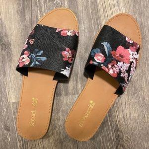Black Floral Slides